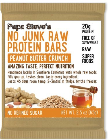 Papa Steve's No Junk Raw Protein Bars, Peanut Butter Honey Crunch, 2.3 Oz, 10 Count