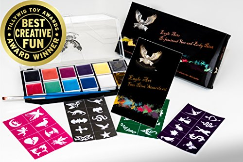Award Winning Eagle Art Face Paint Combo Pack (1 Face Paint Kit, 1 Stencil Set & 1 Artist Brush Set) FDA Approved Cosmetic Grade Face Paint |Reusable Adhesive Stencil |Artist -