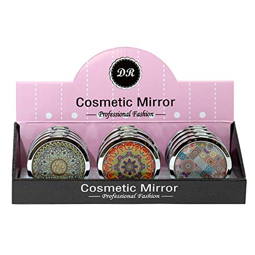 Wholesale Round Cosmetic Mirror in Assorted Kaleidoscope Prints - Bulk Case 48 Pack ()