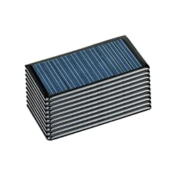 AOSHIKE 10Pcs 5V 60MA Epoxy Solar Panel Polycrystalline Solar Cell for Solar Battery Charger DIY 68x37MM/2.67x1.45inch