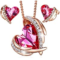 "CDE ""Pink Angel 18K Rose Gold Jewelry Set Women Heart Pendant Necklaces and Stud Earrings Sets Crystals from Swarovski for Her"