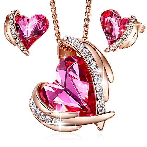 Rose Gold Jewelry Set Women Heart Pendant Necklaces and Stud Earrings Sets Crystals from Swarovski for Her ()
