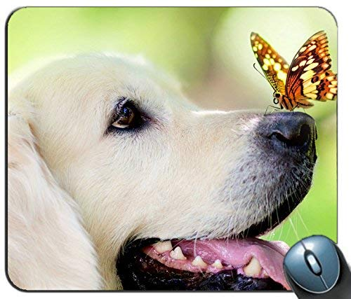 Dog Muzzle Butterfly Tongue Sticking Out Spring Summer Personalized Rectangle Mouse Pad Printed Nonslip Rubber Comfortable Customized Computer Mouse Pad Mouse Mat Mousepad