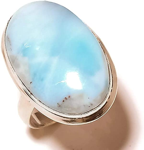 Jewels House Caribbean Larimar Oval Gemstone Silver Plated Handmade Statement Blue Stone Ring US-8.5