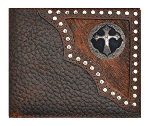(Custom Ornate Cross Bi-fold Wallet Hair on Hide Brown)