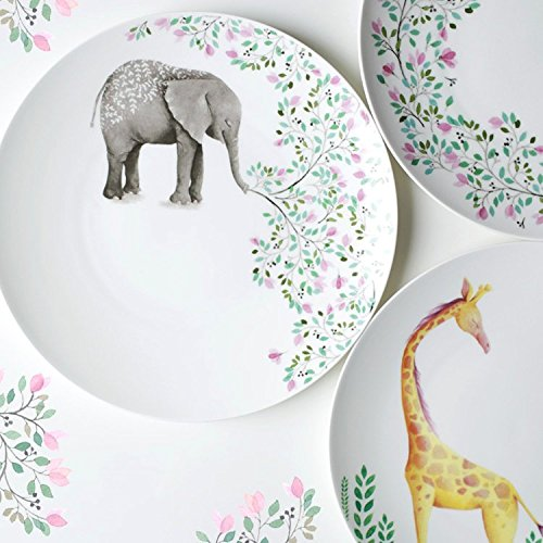 Floral Accent Plate - Decorative Cartoon Animal Elephant Giraffe Floral Printed bone china accent plates dinner dishes ceramic tableware Kitchen (ABC 3pieces set)