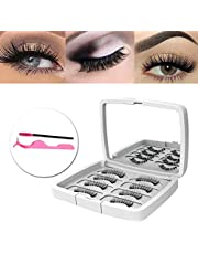 Magnetic Fake Eyelashes Natural Faux 3D Lashes False Eyelashes 2 Pairs and a Tweezers Reusable without Glue