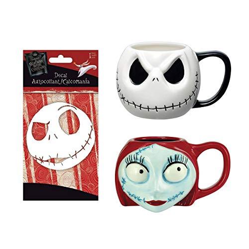 Nightmare Before Christmas Jack And Sally Coffee Mug Set And Jack Skellington Decal | Ceramic Disney Cups | Set of 2 Disney Mugs + 1 Decal Sticker]()