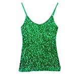 Whitewed Spaghetti Strap Sequin Ssequence Jersey Glitter Tank Tops Juniors Green, Green, US 0 / 8