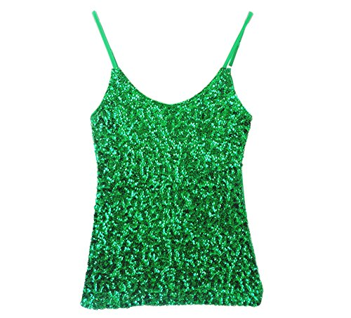 Whitewed Spaghetti Strap Sequin Ssequence Jersey Glitter Tank Tops Juniors Green, Green, US 0 / (Glitter Womens Jersey)