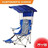 Folding Camping Chairs Raise Your Game RYG Folding Camping Chair Set, Portable Outdoor Reclining Camp Chairs, Heavy Duty Lightweight Lounge Beach Chair with Adjustable Shade Canopy (Blue)