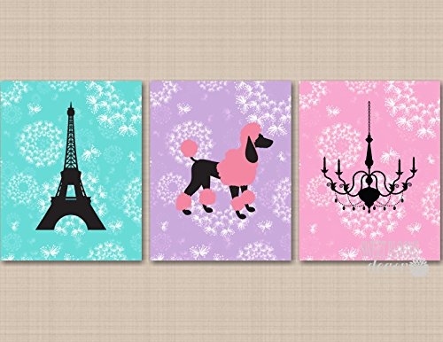 - Paris Wall Art Paris Girl Room Decor Eiffel Tower Chandelier Wall Art Paris Bedroom Decor Poodle Girl Bedroom Pink Purple Teal UNFRAMED 3 PRINTS(NOT CANVAS) C606