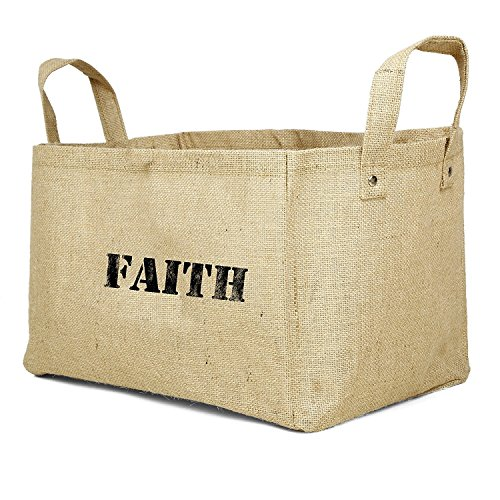 SAVON Jute Storage Baskets Collapsible Kids containers Baby Closet Organizer Toy Bins Cube Box (Faith) -