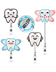 4 Pieces Retractable Tooth Badge Reel Cute Felt Badge Reel Holder Retractable Badge Reel Clip for Students Doctors Dentisit Nurse Staff ID Card Name Card Supplieas