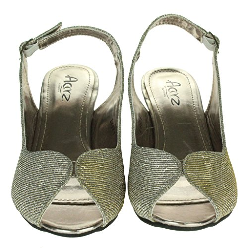 Mujer Señoras Brillar Peep Toe Brillar Peep Toe Slingback Tacón de cuña Noche Fiesta Boda Paseo Sandalias Zapatos Talla Estaño