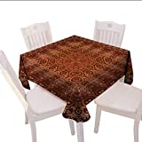 60 Inch Square Ottoman Home-textile-print Antique Square Tablecloth Vintage Lacy Persian Arabic Pattern from Ottoman Empire Palace Carpet Style Art Square Wrinkle Resistant Tablecloth 60x60 (inch) Orange Brown