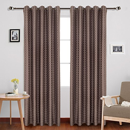 Valance 1 Gen - IYUEGO Classical Solid Faux Linen Lattices Thermal Insulated Curtain, Grommet Room Darkening Draps With Multi Size Custom 50