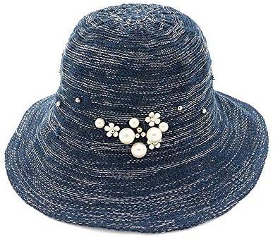 レディースサンハットファッション折りたたみバケットキャップショールビーチウェディングサマーソリッドカラーパールサンハット ビーチ帽子 (色 : 6, サイズ : 56-58CM)