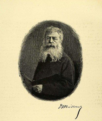 1887 Wood Engraving Jean Louis Ernest Meissonier Artist Portrait Painter Art - Original (Meissonier Jean)