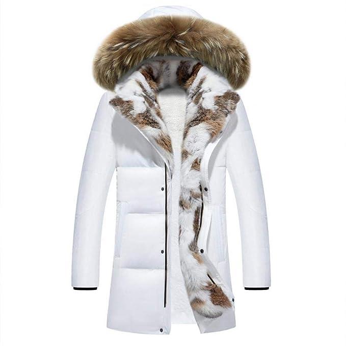 Cuello de Soporte con Capucha de Invierno Talla Grande Pato Grueso Hombre Abajo Chaqueta Blanca M