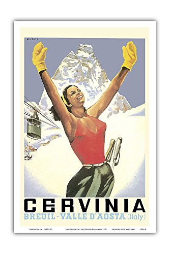 Pacifica Island Art Breuil-Cervinia, Italy - Skier at Alpine Ski Resort - Valle D'Aosta (Aosta Valley) - Vintage World Travel Poster by Arnaldo Musati c.1953 - Master Art Print - 12in x 18in