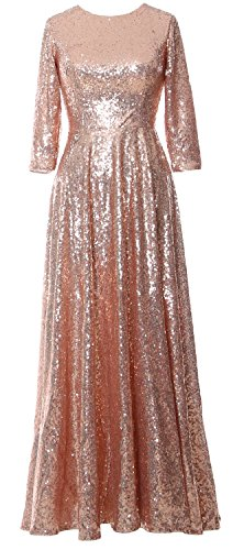 Evening Elegant Sequin Mother Gown Dress 3 MACloth the Vintage Bride Gold of 4 Rose Sleeve dXBq4ppx
