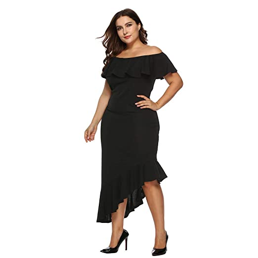 7684eb1019 Howley Dress Women Casual Plus Size Ball Gown Solid Off Shoulder Midi Skirt Loose  Party Dress