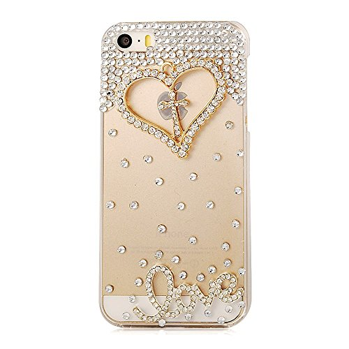 Iphone SE Case,Iphone5S Case,Iphone 5 Case - Mavis's Diary Luxury 3D Handmade Bling Crystal Golden Love Heart Cross with Shiny Sparkle Rhinestone Diamonds Girly Clear Hard Cover with Soft Clean Cloth (Iphone5s Case Crystal compare prices)