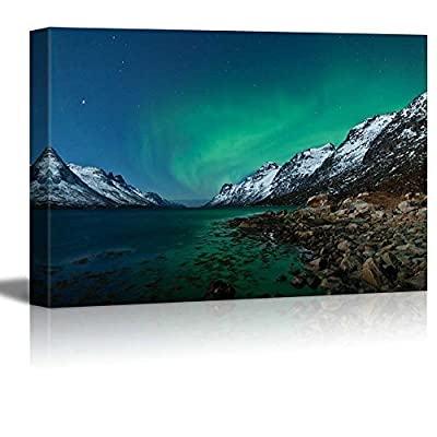 Grand Creative Design, Classic Design, Beautiful Scenery Landscape Northern Lights Aurora Borealis in Norway Wall Decor