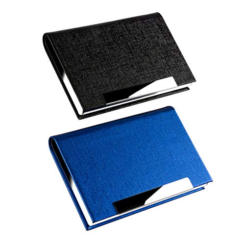 KISSWILL 2 Pack Business Card Holder, PU Leather Business Card Case with Magnetic Shut for Men and Women (Black/Blue)
