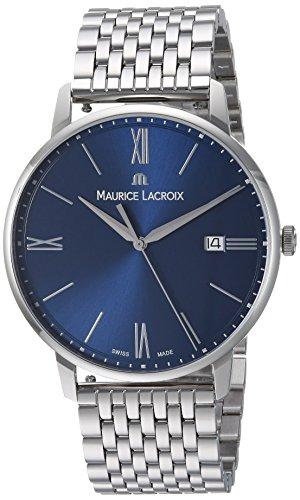 Maurice Lacroix Men's Eliros Swiss-Quartz Watch with Stainless-Steel Strap, Silver, 14 (Model: EL1118-SS002-410-2)