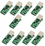 10 PCS USRIOT USR-TCP232-T2 Tiny Serial Ethernet Converter Module Serial UART TTL to Ethernet TCPIP Module Support DHCP and DNS