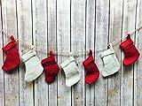 AK-Trading Burlap Jute 7pc Christmas Stocking String - Red & Ivory Mix Stockings on Jute Twine.