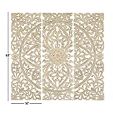 Benzara Floral Hand Carved Wooden Wall Plaque, Set