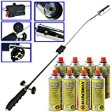 WEED BURNER KILLER WAND BUTANE GAS BLOWTORCH GARDEN OUTDOOR WEEDS MOSS FUNGUS (WEED WAND + 8 CANISTERS)