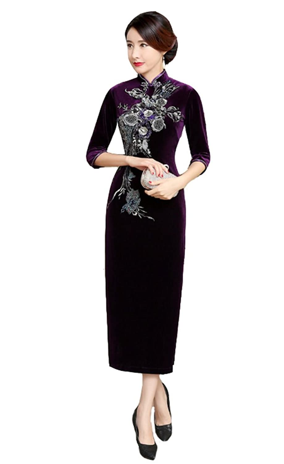 ACVIP Winter Velvet Long Chinese Dress Sequin Flower Embroidered Evening Wedding Party Cheongsam Qipao for Women