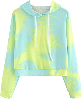 Teen Girls Tie Dye Hoodie Sweatshirt, Womens Patchwork Drawstring Long Sleeve Pullover Shirt Tops Sports Yoga Blouse (Green, S)