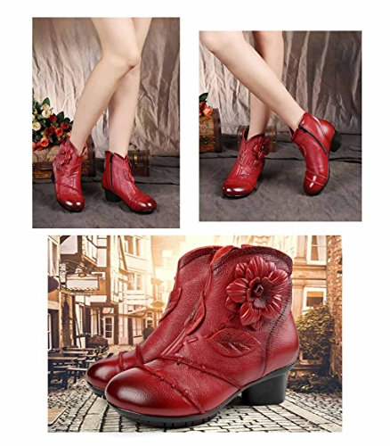 Shoes High fur Lined UPSUN Leather Ankle Bootie Boots Ethnic Genuine Pattern Warm Red Women's AOvqwUOg