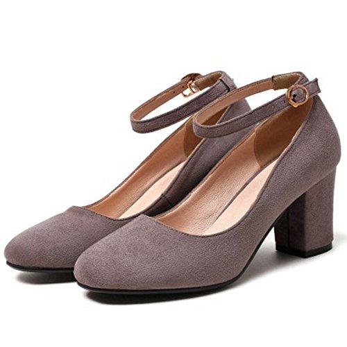 Zanpa Femmes Classique Chaussures Talon Moyen Grey PkJMNZVqg
