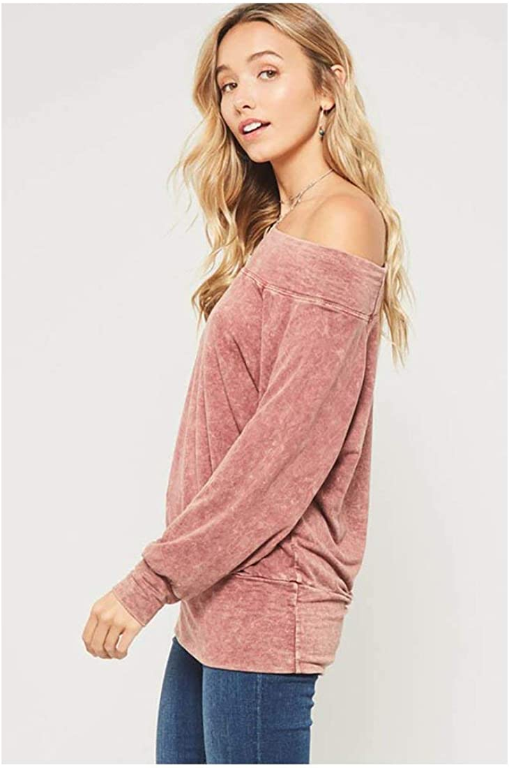 Washed Boat Neck French Terry Knit Top