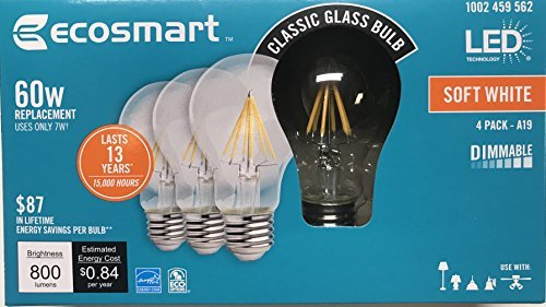 Ecosmart 60W LED soft white Vintage A19 (60)