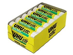 Saunders UHU Glue Stick, 1.41 oz., White, Pack of 12 (99655)