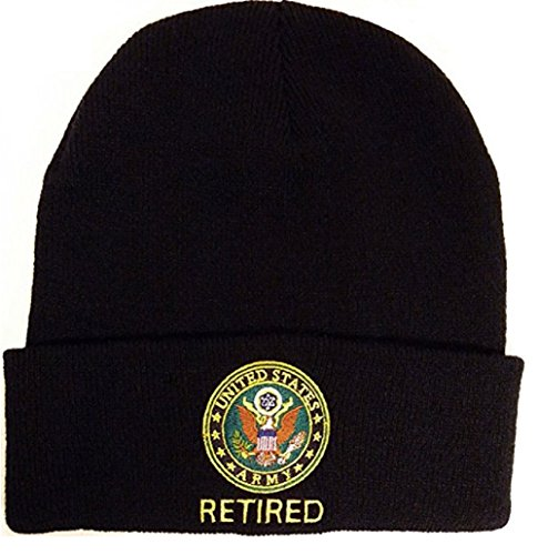 Eagle Crest U.S. Army Retired Knit Beanie Cap. Black (Cap Army Black Knit)