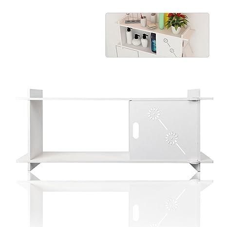 tophomer baño estante blanco cocina armario de almacenamiento montado en la pared toalla organizador accesorio de