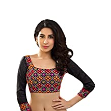 Bollywood Blouses Women's Designer Mirror Embroidered Saree Blouse Multi Color