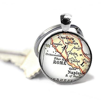 Llavero con diseño de mapa de Roma, Italia, personalizable ...