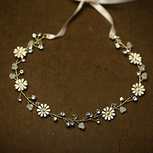 Oureamod Daisy Rustic Headbands Bridal Headpiece Rhinestone Prom Party Wedding Hair (Party Headpiece)