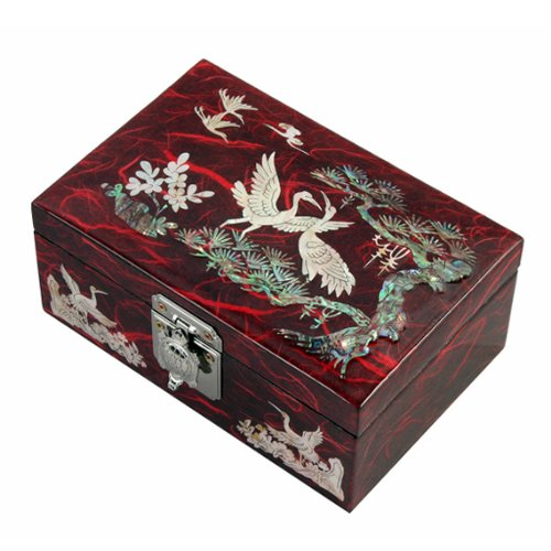 Mother of Pearl Birds and Pine Tree Design Lacquered Wood...