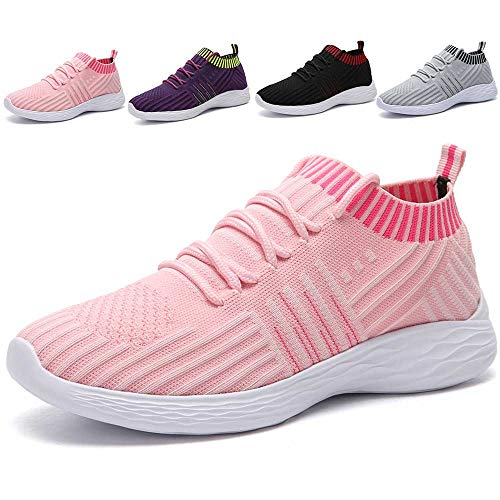 - MARITONY Womens Slip on Sneakers, Lightweight Outdoor Casual Mesh Walking Running Shoes, Pink 40