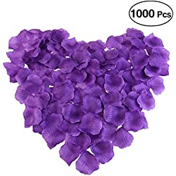 PIXNOR 1000pcs Silk Rose Petals Decorations for Wedding Party (Purple)